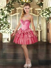 Exceptional Sleeveless Organza Mini Length Lace Up Prom Evening Gown in Coral Red with Beading and Ruffled Layers