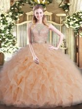 Champagne Ball Gowns Beading and Ruffles Vestidos de Quinceanera Backless Tulle Sleeveless Floor Length