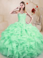 Classical Apple Green Ball Gowns Sweetheart Sleeveless Organza Floor Length Lace Up Beading and Ruffles Sweet 16 Dress