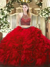 Modern Red Zipper Halter Top Beading and Ruffles Quinceanera Dresses Tulle Sleeveless