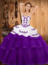 Trendy Strapless Sleeveless Sweep Train Lace Up Quinceanera Gown Purple Tulle