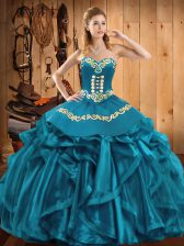 Classical Sleeveless Organza Floor Length Lace Up Ball Gown Prom Dress in Teal with Embroidery and Ruffles