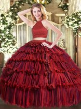Deluxe Organza Halter Top Sleeveless Backless Beading and Ruffled Layers Vestidos de Quinceanera in Wine Red