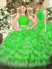Tulle Sleeveless Floor Length 15th Birthday Dress and Ruffled Layers