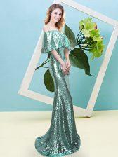 Apple Green Mermaid Off The Shoulder Half Sleeves Sequined Floor Length Zipper Sequins Prom Gown