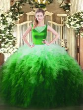 New Style Sleeveless Beading and Ruffles Side Zipper Quinceanera Gowns