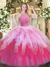 Classical Multi-color Sleeveless Beading and Ruffles Floor Length Quince Ball Gowns