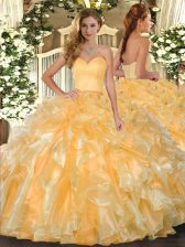 Gorgeous Ball Gowns Quinceanera Gown Gold Sweetheart Organza Sleeveless Floor Length Lace Up