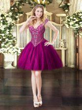 Amazing Fuchsia V-neck Lace Up Beading Prom Gown Sleeveless