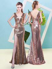 Suitable Gold Zipper Prom Dresses Sequins Sleeveless Floor Length