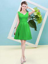 Fancy Satin Asymmetric Sleeveless Zipper Ruching Dama Dress for Quinceanera in Green