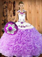 Sleeveless Lace Up Floor Length Embroidery Sweet 16 Dresses