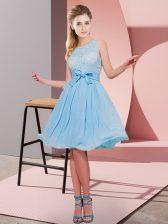 Wonderful Sleeveless Side Zipper Knee Length Lace and Bowknot Vestidos de Damas