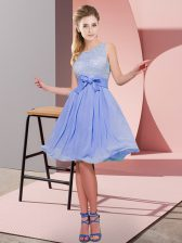 Fabulous Lavender Dama Dress for Quinceanera Prom and Party with Lace and Bowknot Scoop Sleeveless Side Zipper