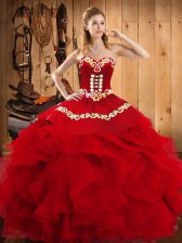Ideal Sleeveless Embroidery and Ruffles Lace Up Quinceanera Dresses