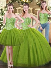 Olive Green Sweetheart Lace Up Beading Quince Ball Gowns Sleeveless