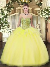 High Quality Sweetheart Sleeveless Lace Up Quinceanera Gown Yellow Tulle