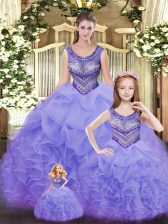Dynamic Floor Length Lavender Vestidos de Quinceanera Scoop Sleeveless Lace Up
