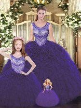 Dark Purple Ball Gowns Beading and Ruffles 15th Birthday Dress Lace Up Tulle Sleeveless Floor Length