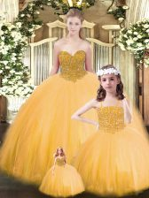 Best Gold Ball Gowns Tulle Sweetheart Sleeveless Beading Floor Length Lace Up Sweet 16 Dresses