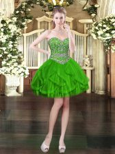 Affordable Sweetheart Sleeveless Tulle Prom Gown Beading and Ruffles Lace Up