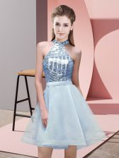 Sleeveless Chiffon Mini Length Backless Quinceanera Court of Honor Dress in Light Blue with Sequins
