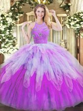 Graceful Tulle Halter Top Sleeveless Zipper Beading and Ruffles Quinceanera Gown in Multi-color