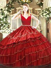 Dramatic V-neck Sleeveless Zipper Ball Gown Prom Dress Wine Red Organza