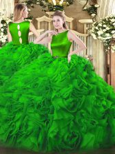 Custom Design Green Sleeveless Belt Floor Length Sweet 16 Quinceanera Dress