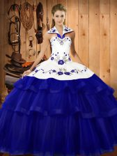 Charming Royal Blue Quinceanera Gowns Military Ball and Sweet 16 and Quinceanera with Embroidery and Ruffled Layers Halter Top Sleeveless Sweep Train Lace Up