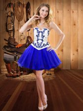 Glamorous Strapless Sleeveless Organza Homecoming Dress Embroidery Lace Up