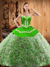 Multi-color Lace Up Sweetheart Embroidery Sweet 16 Quinceanera Dress Satin and Fabric With Rolling Flowers Sleeveless Sweep Train