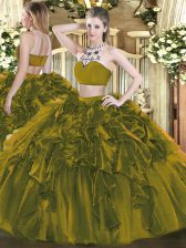 Glamorous Sleeveless Floor Length Beading and Ruffles Backless Quinceanera Gown with Olive Green