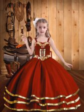 Rust Red Straps Neckline Beading and Embroidery and Ruffled Layers Girls Pageant Dresses Sleeveless Lace Up