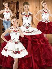 Wine Red Halter Top Lace Up Embroidery and Ruffles 15 Quinceanera Dress Sleeveless