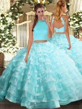 Stunning Floor Length Two Pieces Sleeveless Aqua Blue Ball Gown Prom Dress Backless