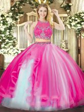 Trendy Beading and Ruffles Quinceanera Gown Hot Pink Zipper Sleeveless Floor Length