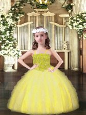 Excellent Sleeveless Floor Length Beading and Ruffles Lace Up Little Girl Pageant Gowns with Yellow