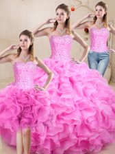 Floor Length Ball Gowns Sleeveless Lilac Vestidos de Quinceanera Lace Up