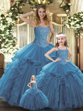 Gorgeous Teal Lace Up Sweetheart Beading and Ruffles Quinceanera Dresses Organza Sleeveless
