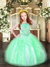 Exquisite Sleeveless Beading and Ruffles Zipper Pageant Dresses