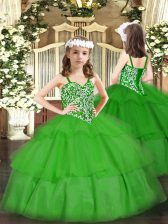Green Lace Up Little Girls Pageant Dress Wholesale Beading and Ruffled Layers Sleeveless Floor Length