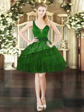 Dark Green V-neck Neckline Beading and Embroidery and Ruffled Layers Prom Party Dress Sleeveless Lace Up