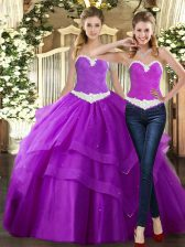 Floor Length Purple 15 Quinceanera Dress Tulle Sleeveless Beading and Ruching