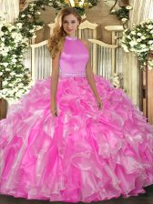 Floor Length Backless Ball Gown Prom Dress Rose Pink for Military Ball and Sweet 16 and Quinceanera with Beading and Ruffles