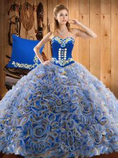 Fantastic Multi-color Sweetheart Lace Up Embroidery Sweet 16 Dress Sweep Train Sleeveless
