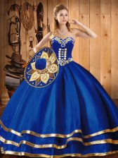 Colorful Blue Sweetheart Neckline Embroidery Quinceanera Gown Sleeveless Lace Up