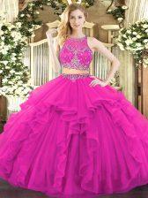 Scoop Sleeveless Zipper Sweet 16 Dress Fuchsia Tulle