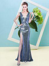 Blue Zipper V-neck Sequins Prom Dress Sequined Sleeveless