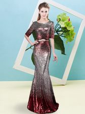 Multi-color Zipper Prom Gown Sequins Half Sleeves Floor Length